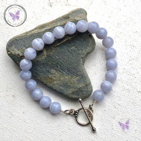 Blue Lace Agate Bracelet With Silver Toggle Clasp